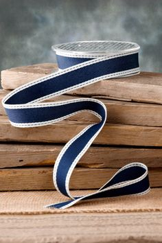Woven Ribbon Navy 1in x 10yds