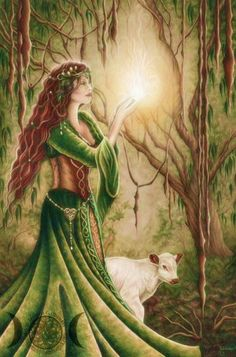 Born at the exact moment of daybreak, Brigid rose into the sky with the sun, rays of fire beaming from her head. She was the daughter of Dagda, the great 'father-god' of Ireland and a Tuatha Dé Dananna. It is said that wherever she walked, small flowers and shamrocks would appear. As a sun goddess her gifts are light, inspiration, and the vital and healing energy of the sun. She is considered the patroness of poetry, smithing, medicine, arts and crafts, cattle and other livestock, and…