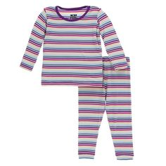 KicKee Pants Little Girls Print Long Sleeve Pajama Set, Girl Perth Stripe Toddler Fashion, Toddler Outfits, Kids Fashion, Long Sleeve Pyjamas, Pj Sets, Cute Baby Clothes, Simple Dresses, Pajama Set, Toddler Girl