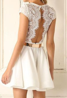 This dress with v-neck and backless eyelash lace patchwork,which will make you sxeier and cute,you can wear it to your party or date,get the one you prefer.