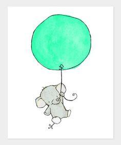 trafalgar's square Elephant Balloon Mint Print by Color Trend