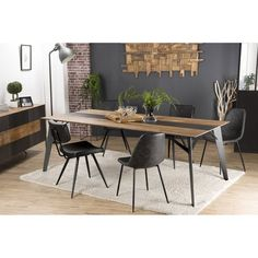 House and Garden Table salle à manger teck et acier 220 cm - Eastwood Wood Table Design, Dining Room, Dining Table, Industrial Dining, Conference Table, Garden Table, Decoration Table, Home Staging, Natural Wood