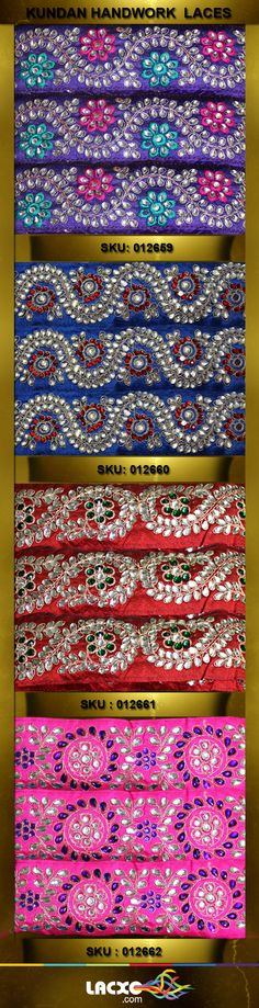 Kundan Work Design | Shop for all handwork desgin at http://www.lacxo.com/lace/hand-work-borders/kundan-lace.html | Handwork designs are heavily used for bridal and heavy suit saree or garments. Get designer collection of handwork laces with kundan stone diamond attached at Lacxo