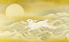 Kano Tsunenobu, Japanese (Kyoto 1636 - 1713) Title Rabbit, Wave and Full Moon