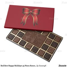 Red Bow Happy Holidays 45 Piece Assortment 45 Piece Assorted Chocolate Box