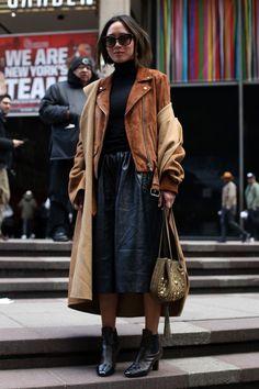 Street style at New York Fashion Week. Photo: Angela Datre/Fashionista.
