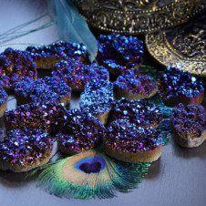 cobalt aura quartz mini cluster