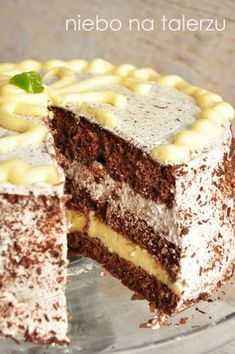 Chocolate cake with a lemon note- Tort czekoladowy z cytrynową nutą Chocolate cake with a lemon note - Polish Desserts, Polish Recipes, No Bake Desserts, Sweet Recipes, Cake Recipes, Creative Desserts, Different Cakes, Fudge Cake, Strawberry Cakes