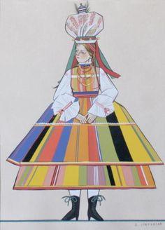 "lamus-dworski: "" Zofia Stryjeńska (Polish, excerpts from the ""Polish peasant costumes"" cycle. Great Paintings, Poland Art, Traditional Art, Art Painting, Folk Art, Historical Design, Character Design, Slavic Folklore, Folk"