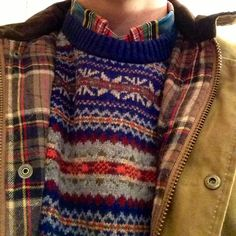 Fair isle style pattern jumper | Sweater, check shirt, checked coat lining | sunshineandfeelingfine: pattern clashing