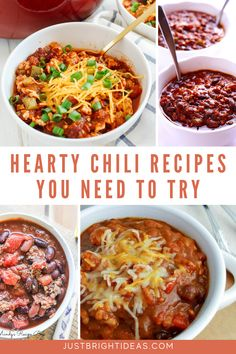 These quick and easy chili recipes are healthy and kid friendly too. They're perfect for lazy winter evenings or tailgating! Hearty Chili Recipe, Chili Recipes, Tailgating, Recipe Box, Thanksgiving Recipes, Lazy, Pumpkin, Kid, Healthy