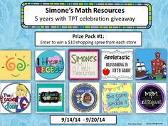 Giveaway of Prize Pack 1 from Simone's Math Resources--Sept. 14-20, 2014. Enter to win some free teacher resources from TPT--primarily for upper elementary and middle grades (4th to 8th grade).