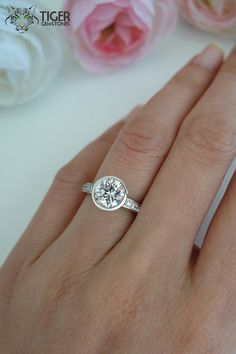 1.5 Carat Bezel Set Round Cut Accented by TigerGemstones on Etsy