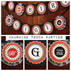 40th Birthday party banner.  Black, Red and Gold/ Fully assembled and customizable. by CharmingTouchParties on Etsy
