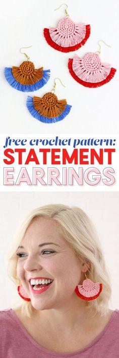 diy statement earrings - so cute! free crochet earrings pattern