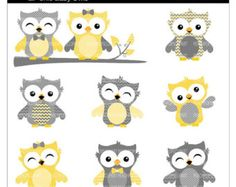 OFF SALE cute owl clip art digital clipart - Lil Chic Baby Owls - Yellow and Gray - Digital Clip Art - Personal Commercial Use Owl Clip Art, Owl Art, Bird Art, Owl Quilts, Baby Quilts, Owl Patterns, Quilt Patterns, Kids Mirrors, Owl Wallpaper