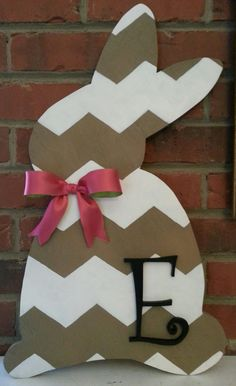 Wooden Chevron Bunny Door Hanger by TwoSouthernChicksDes on Etsy, $65.00