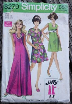 Simplicity 8279 1960s 60s Mini Maxi Dress by EleanorMeriwether - think I can easily replicate this neckline. I am good at making facings!