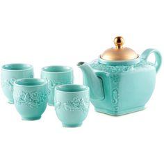 Alison Appleton Golden Carp teapot and cup set (448.105 COP) ❤ liked on Polyvore featuring home, kitchen & dining, teapots, fillers, kitchen, random, tea, tea teapot and tea pot