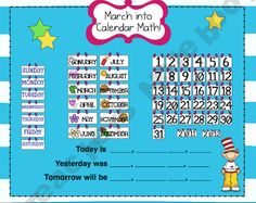 Inexpensive resource for a SMARTBoard interactive calendar. Wonderful for introducing at the beginning of the school year and referring to every morning as part of the morning routine. Particularly useful for lower elementary students. Teaching First Grade, 1st Grade Math, Grade 2, New Classroom, Classroom Ideas, Promethean Board, Creative Calendar, Teacher Notebook, Beginning Of The School Year