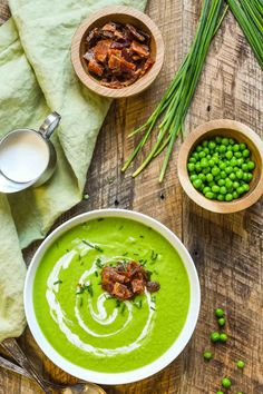 Green Pea Soup with Candied Bacon is a gorgeous, easy, and refreshing soup that's perfect for Easter or any spring occasion.