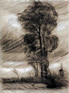 Landscape in Stormy Weather - Vincent van Gogh . Created in Nuenen in June - August, Located at Van Gogh Museum Vincent Van Gogh, Art Van, Claude Monet, Rembrandt, Van Gogh Zeichnungen, Desenhos Van Gogh, Van Gogh Arte, Van Gogh Drawings, Van Gogh Paintings