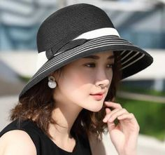 0d8b827f870 Striped wide brim straw hat with bow for lady summer beach sun hats packable