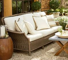 Saybrook All-Weather Wicker Sofa #potterybarn