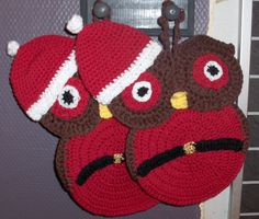 Christmas owl, crochet owl, owl pot holder, owl decoration, owl kithcen decor by…
