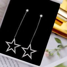Fancy Jewellery, Silver Jewellery Indian, Fancy Earrings, Jewelry Design Earrings, Gold Earrings Designs, Star Jewelry, Stylish Jewelry, Simple Earrings, Cute Jewelry