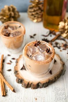 This Iced Cinnamon Whiskey Chai is spicy, cool and perfect for the holidays! Made with delicious Rebbl Ashwaganda Chai Elixir Whiskey Cocktails, Cocktail Drinks, Cocktail Recipes, Christmas Drinks, Holiday Drinks, Holiday Parties, Winter Cocktails, Yummy Drinks, Yummy Food