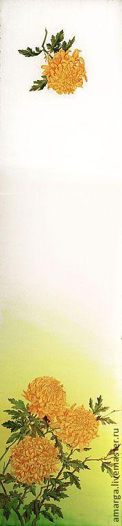 """Шарфы и шарфики ручной работы. Ярмарка Мастеров - ручная работа батик шарф """"Желтые хризантемы"""". Handmade."""