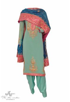 Attractive aqua blue suit adorn in gota work and jaipuri dupatta