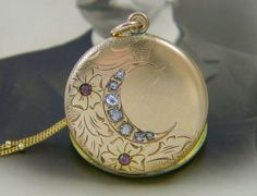 Antique Victorian Crescent Moon Locket Necklace Gold by LuvLockets
