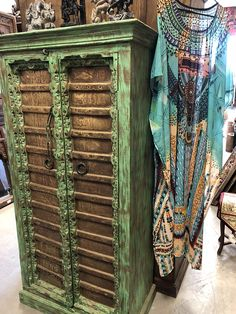 Vintage Cabinet Brass cladded doors from Jaipur India, hand hammered old reclaimed haveli doors, open onto a large two shelf storage area. Round Brass Pulls on Door and iron latch add to the rustic beauty. Moroccan Furniture, Indian Furniture, Wooden Furniture, Antique Furniture, Funky Furniture, Cabinet Furniture, Ikea Furniture, Furniture Makeover, Furniture Ideas