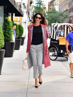 Altuzarra coat, top, and trousers, Elizabeth & James sunglasses, Giambattista Valli shoes - September 17, 2016