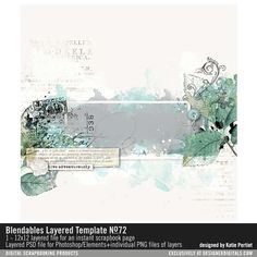 Blendables Layered Template No. 72 artsy watercolor painted layered page template #designerdigitals #digitalscrapbooking #watercolor