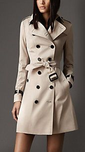 Long leather detail trench coat - Burberry