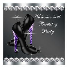 Womans Elegant Purple Birthday Party 5.25x5.25 Square Paper Invitation Card