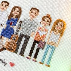 Large Personalized Cross-Stitched Family Portrait. More Than 6