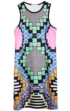 Green Sleeveless Geometric Print Vest - Sheinside.com