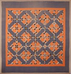 Antique Mennonite 9-Patch Crossing quilt - Love the cheddar orange and blues