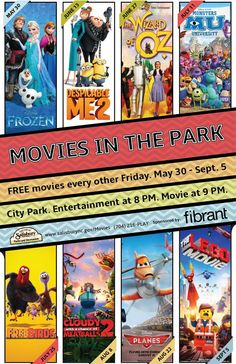 Movies in the Park Summer schedule.