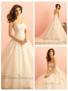 Strapless Ruched Bodice Lace Appliques Princess Ball Gown Wedding Dress