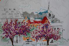 В апреле каждую субботу выходила рисовать на Кампе. Когда было холодно, пряталась в кафе, благодаря чему открыла для себя новое место, откуда просто не хочется… Artwork, Painting, Work Of Art, Auguste Rodin Artwork, Painting Art, Paintings, Drawings