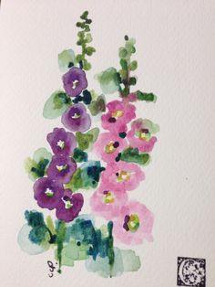 Hollyhocks Watercolor Card by gardenblooms on Etsy Watercolor Paintings For Beginners, Watercolor Projects, Beginner Painting, Watercolor Cards, Floral Watercolor, Watercolor Trees, Watercolor Pencils, Watercolor Portraits, Watercolor Landscape
