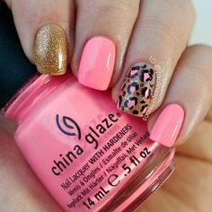 Pink and gold nails with cheetah patterned accent nail.