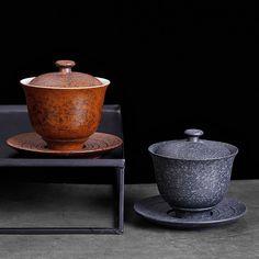 Rough Ceramic Gaiwan 230cc, KTM20 Chinese Tea Set, Bamboo Box, Yixing Teapot, Tea Tray, Brewing Tea, Tea Ceremony, Tea Pots, Porcelain, Ceramics