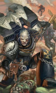 Timeline of the Millennium: * Waaagh! Kayvaan Shrike and the Raven Guard Third Company are among the forces that respond. Warhammer 40k Rpg, Warhammer Fantasy, Space Marine, Fantasy Fiction, Fantasy Art, Space Wolves, The Grim, Geek Art, Art Pictures