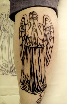 """What've you done! You've tattooed yourself with a weeping angel! """"What ever holds the image of an angel becomes an angel"""" your practically carrying a weeping angel in your pocket!"""